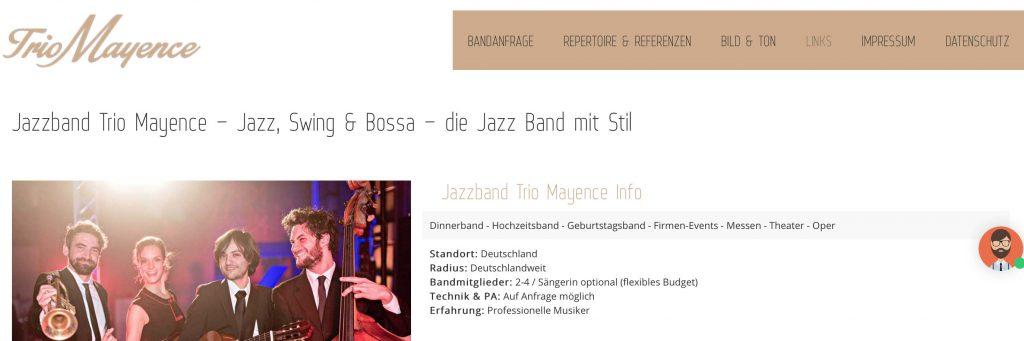 Jazzband Trio - Development, SEO, SEA